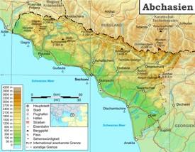 Physische Landkarte von Abchasien
