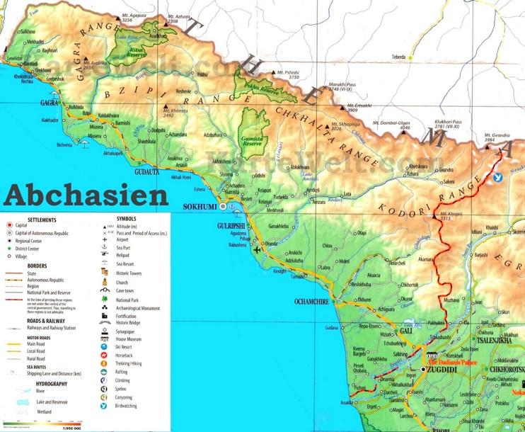 Touristische Karte von Abchasien