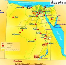 Karte von Ägypten mit die urlaubsorten