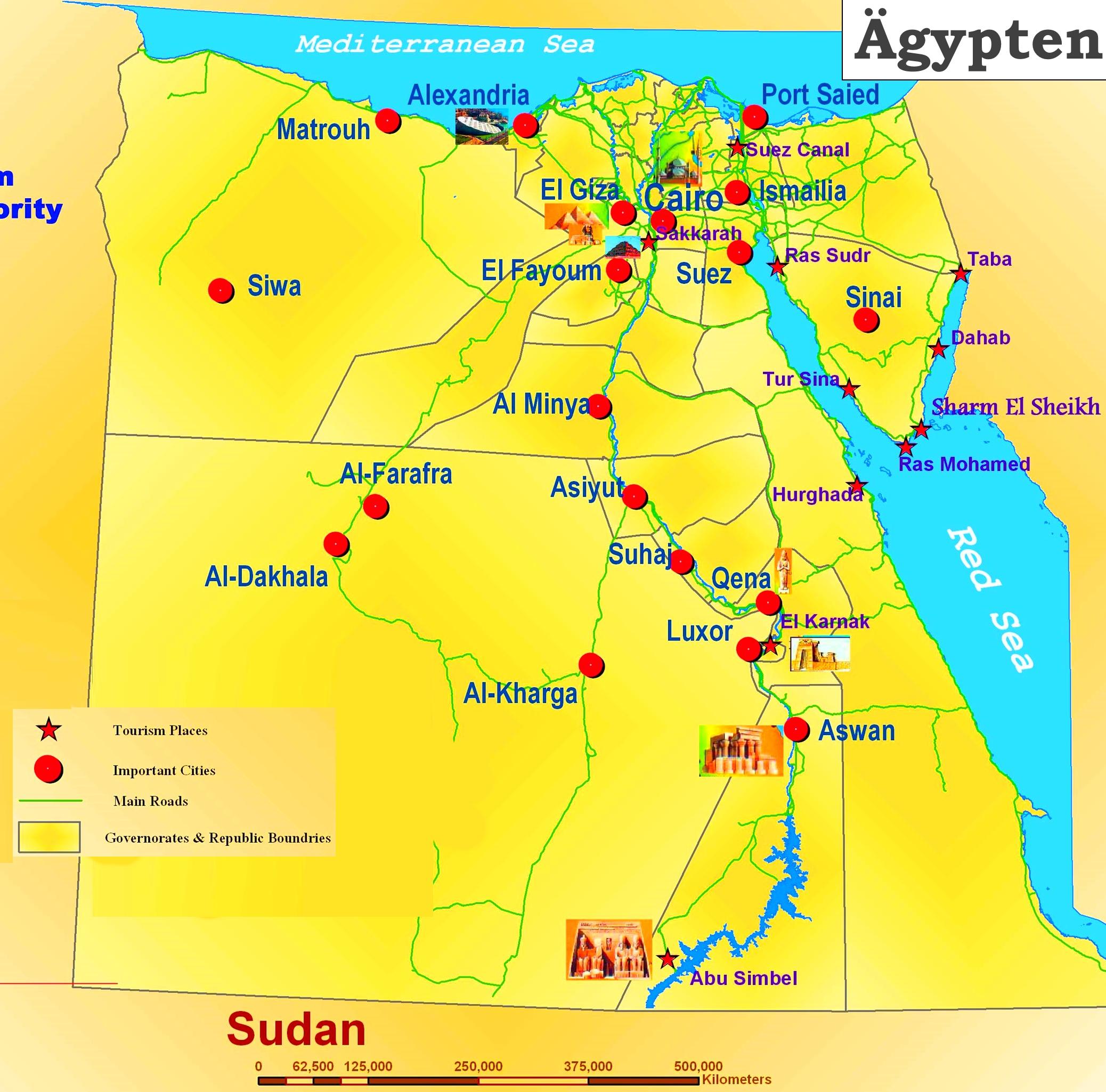 Karte Von ägypten.Karte Von ägypten Mit Die Urlaubsorten