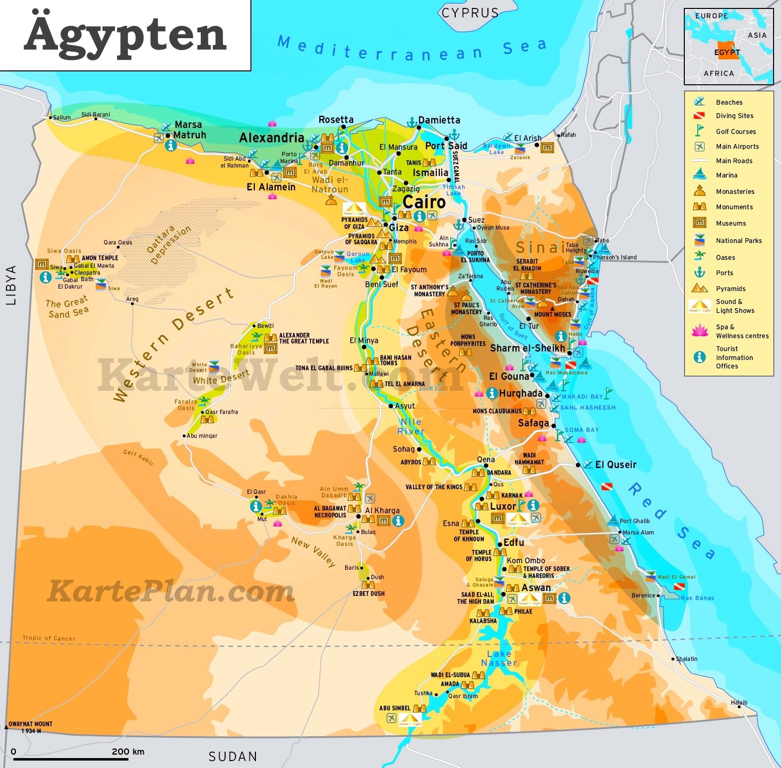 Touristische Karte Von Agypten