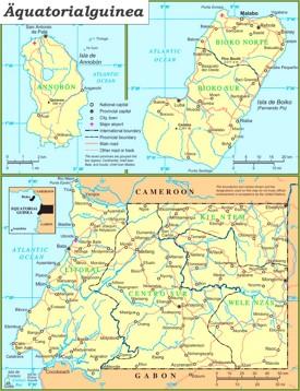 Politische karte von Äquatorialguinea