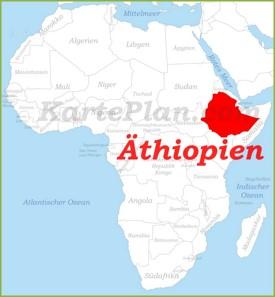 Äthiopien auf der karte Afrikas
