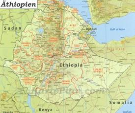 Große detaillierte karte von Äthiopien