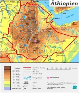 Physische landkarte von Äthiopien
