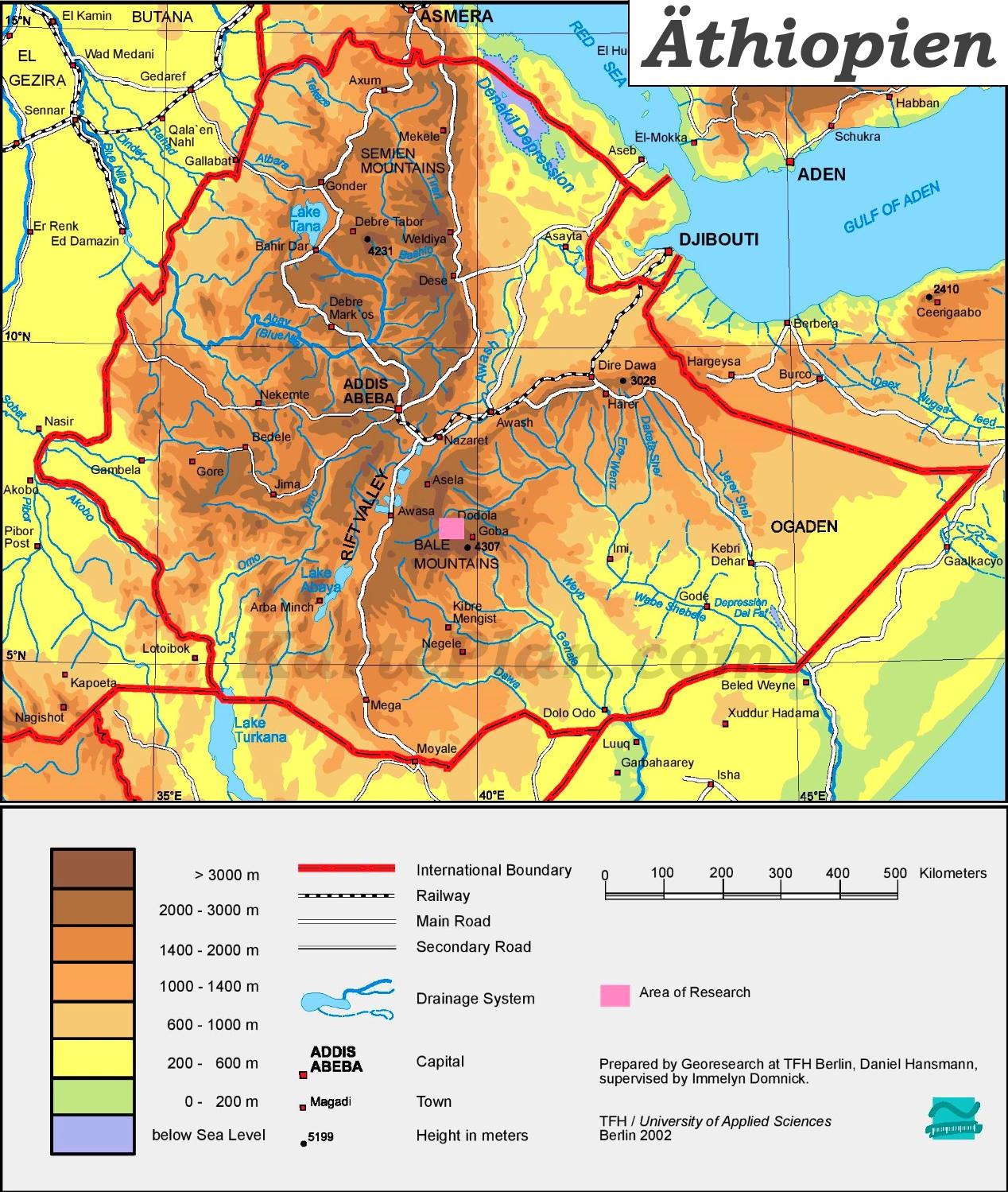 äthiopien karte Physische landkarte von Äthiopien