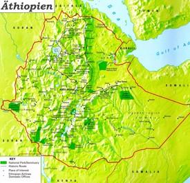 Touristische karte von Äthiopien