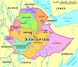 Verwaltungskarte von Äthiopien