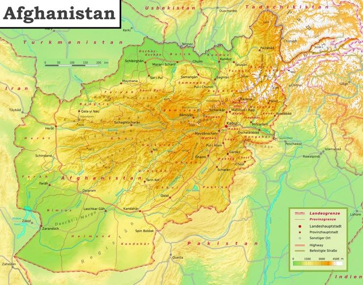 Physische landkarte von Afghanistan