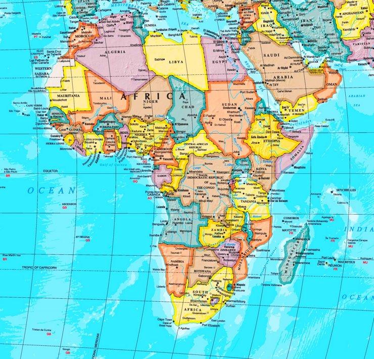 Afrika karte mit städten
