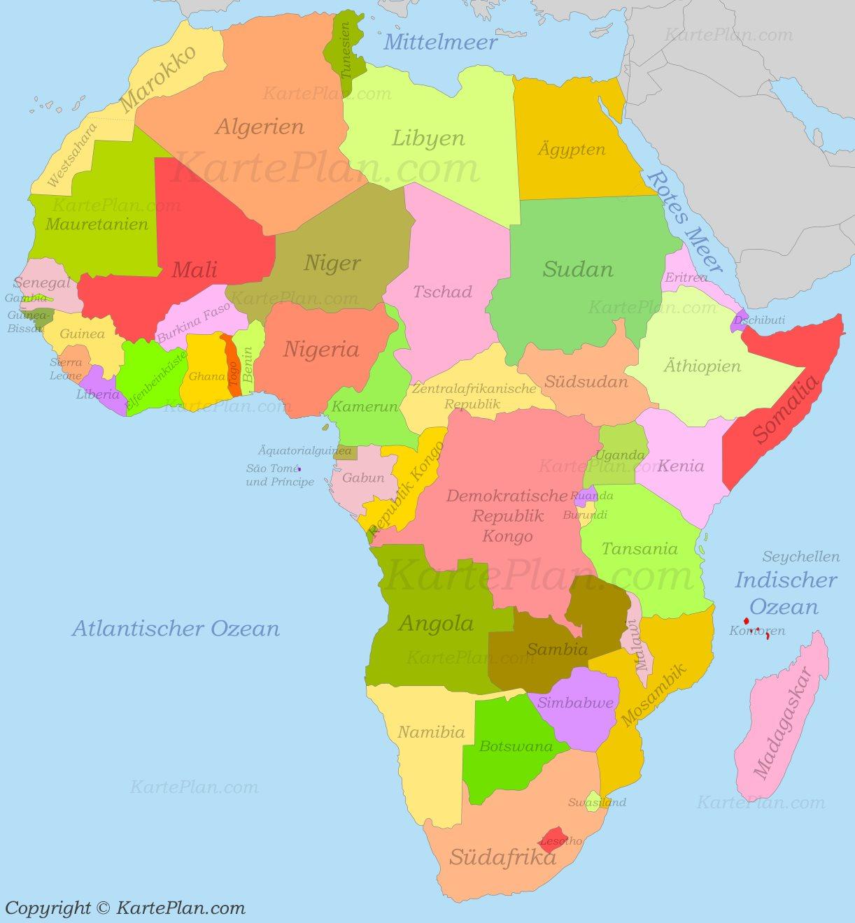 Afrika Politische Karte