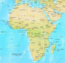 Physische landkarte von Afrika