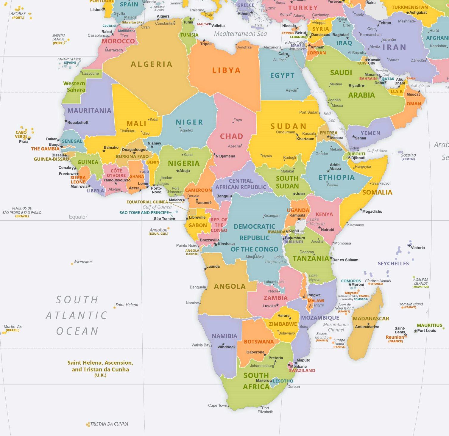 Politische Karte Afrikas Mit Den Hauptstadten