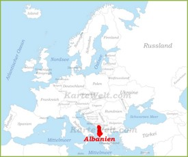 Albanien auf der karte Europas