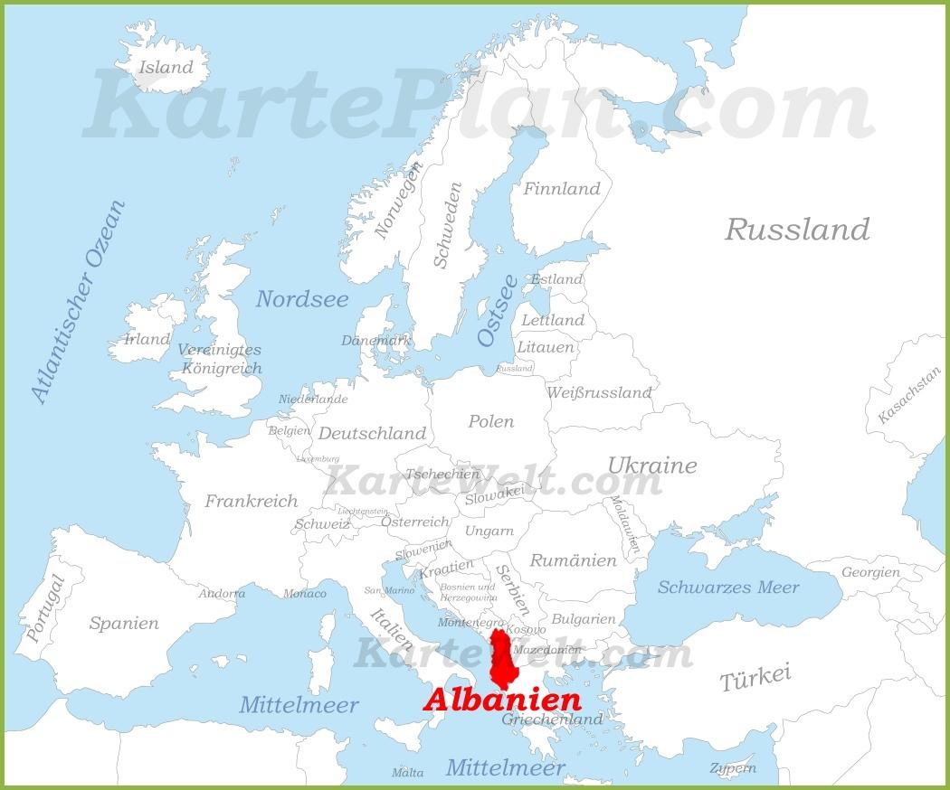 Karte Albanien.Albanien Auf Der Karte Europas