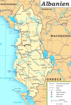Albanien Straßenkarte