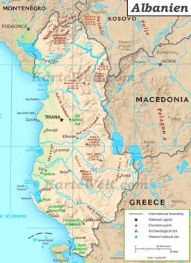 Physische Landkarte von Albanien