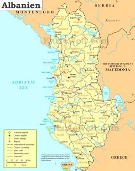 Politische karte von Albanien