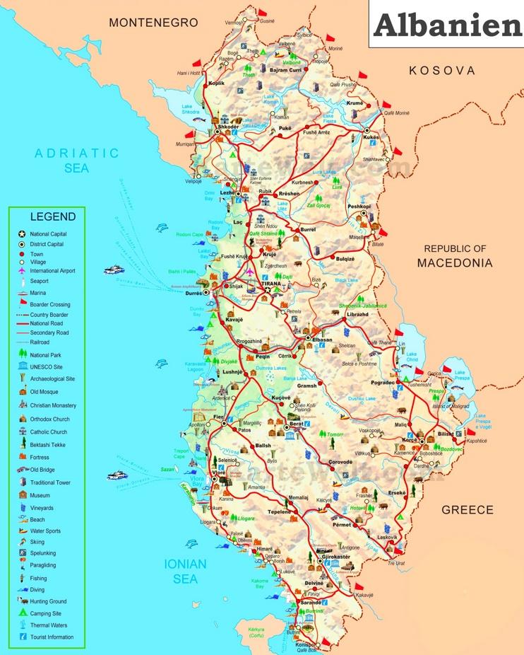 Touristische karte von Albanien