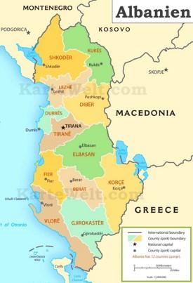 Verwaltungskarte von Albanien