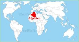 Algerien auf der Weltkarte