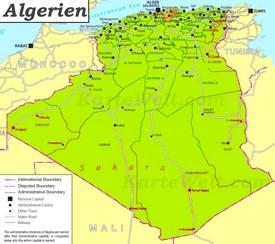 Politische karte von Algerien