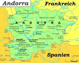 Politische karte von Andorra