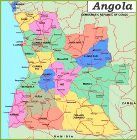 Politische karte von Angola