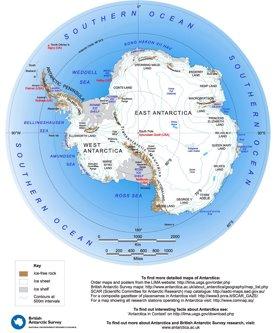 Große detaillierte karte von Antarktika