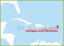 Antigua und Barbuda auf der karte Karibiks