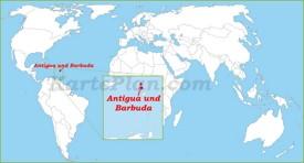 Antigua und Barbuda auf der Weltkarte