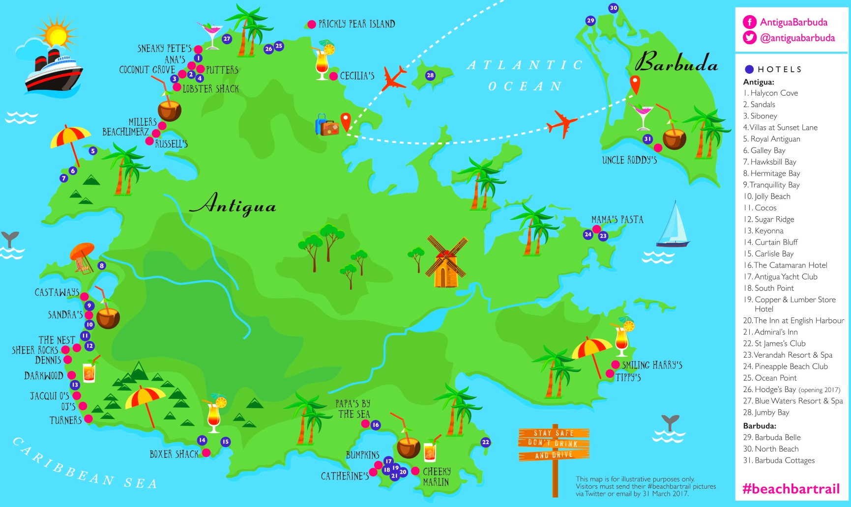 antigua karte Antigua und Barbuda hotel karte