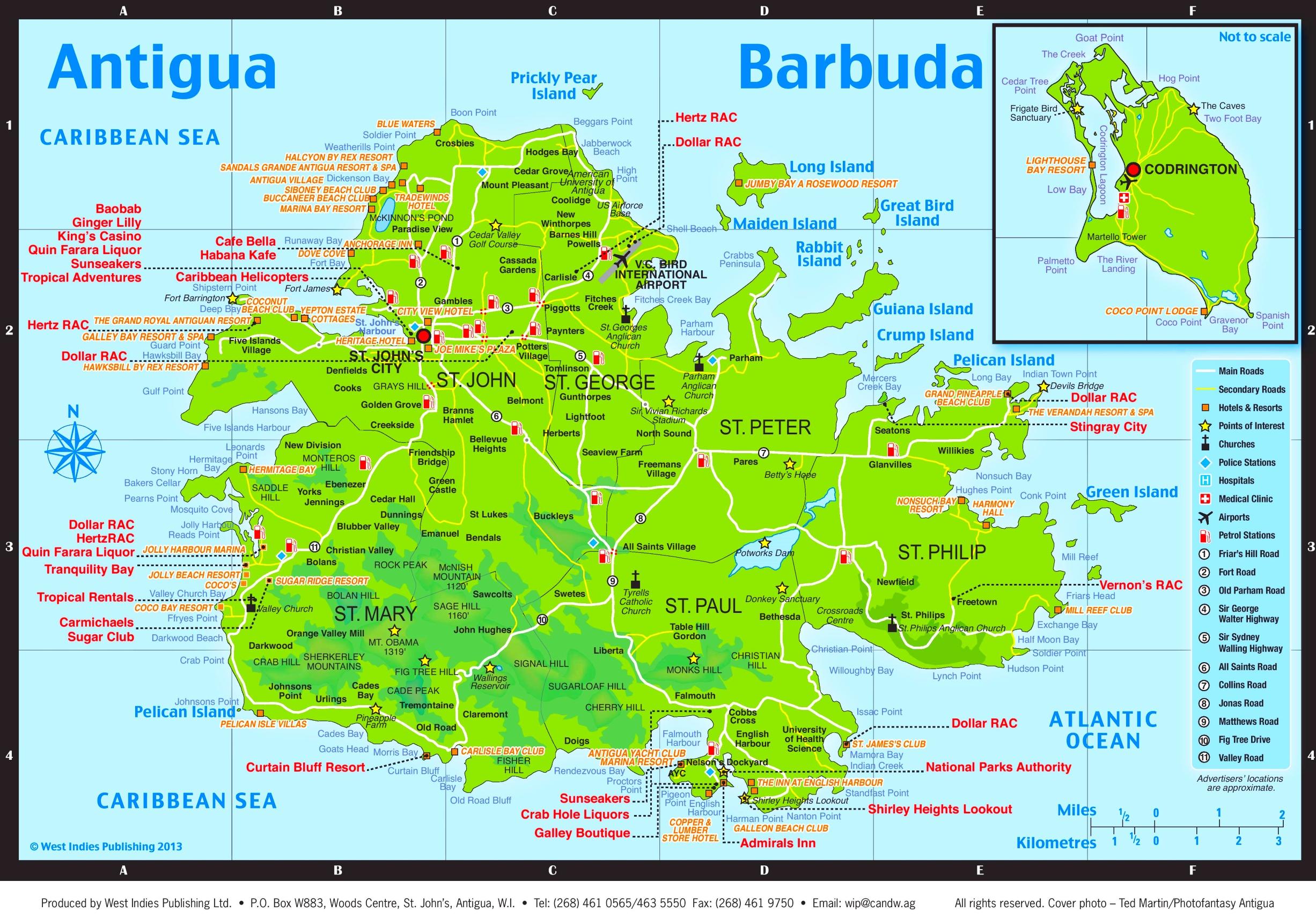 antigua karte Touristische karte von Antigua und Barbuda