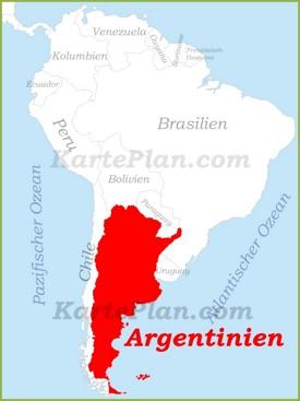 Argentinien auf der karte Südamerikas
