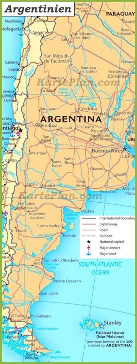 Argentinien Straßenkarte