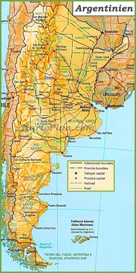 Politische karte von Argentinien