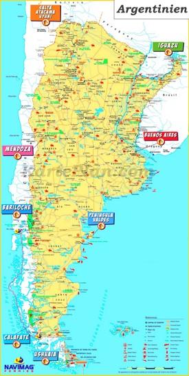 Touristische karte von Argentinien