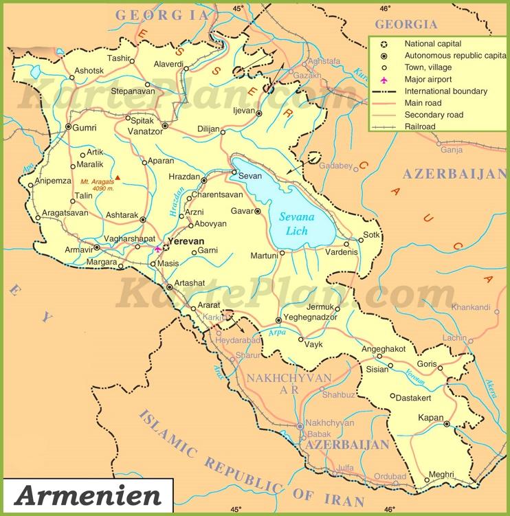 Armenien Straßenkarte