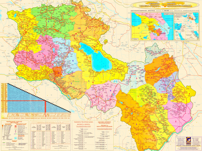 Armenien Karte.Grosse Detaillierte Karte Von Armenien Und Bergkarabach