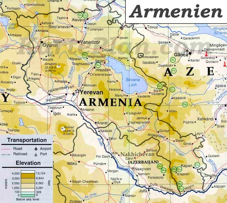 Physische landkarte von Armenien