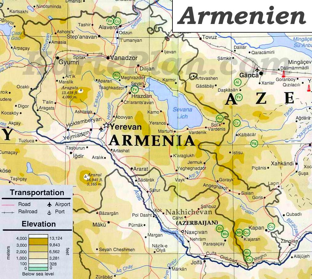 Armenien Karte.Physische Landkarte Von Armenien