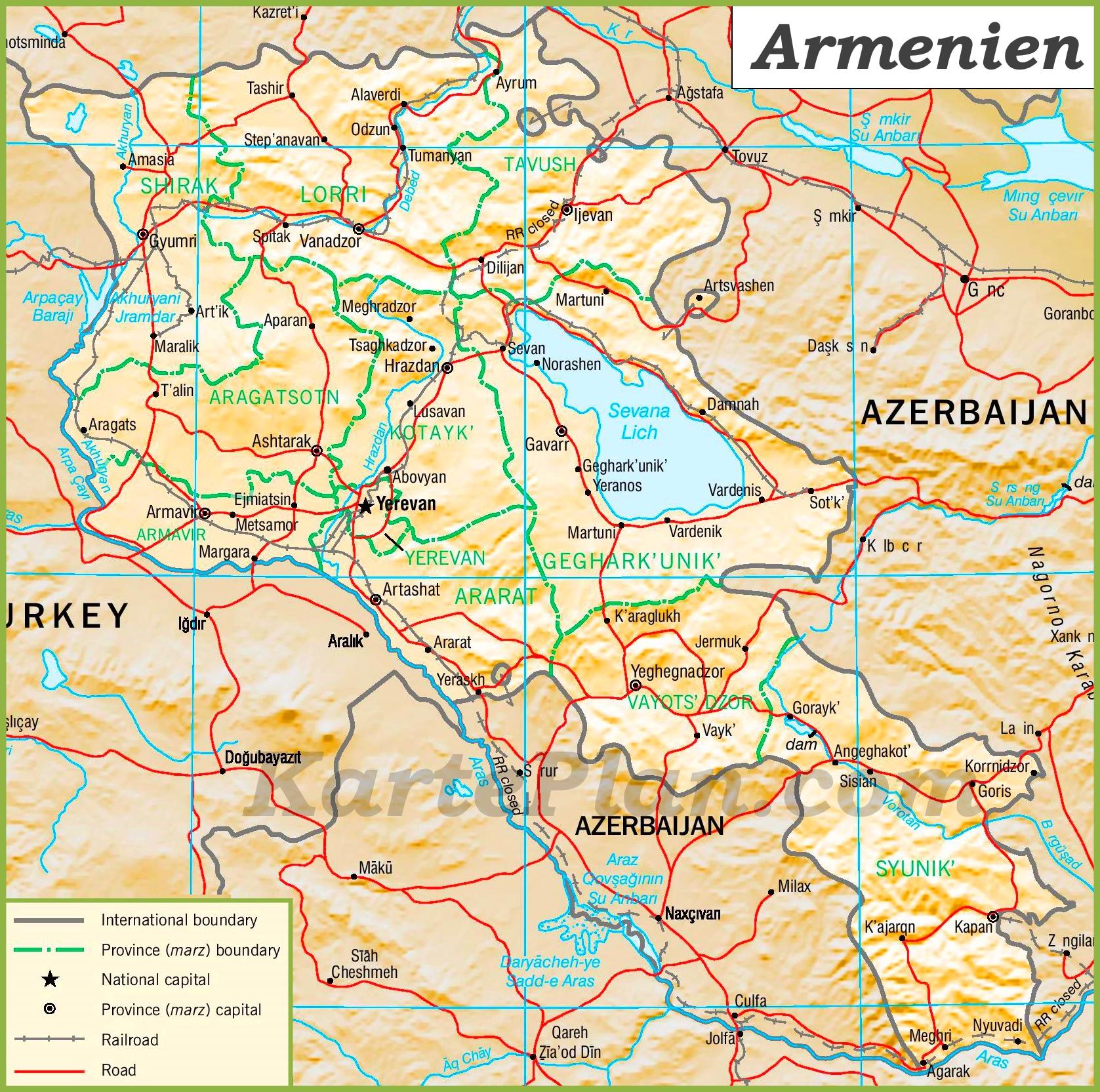 Armenien Karte.Politische Karte Von Armenien