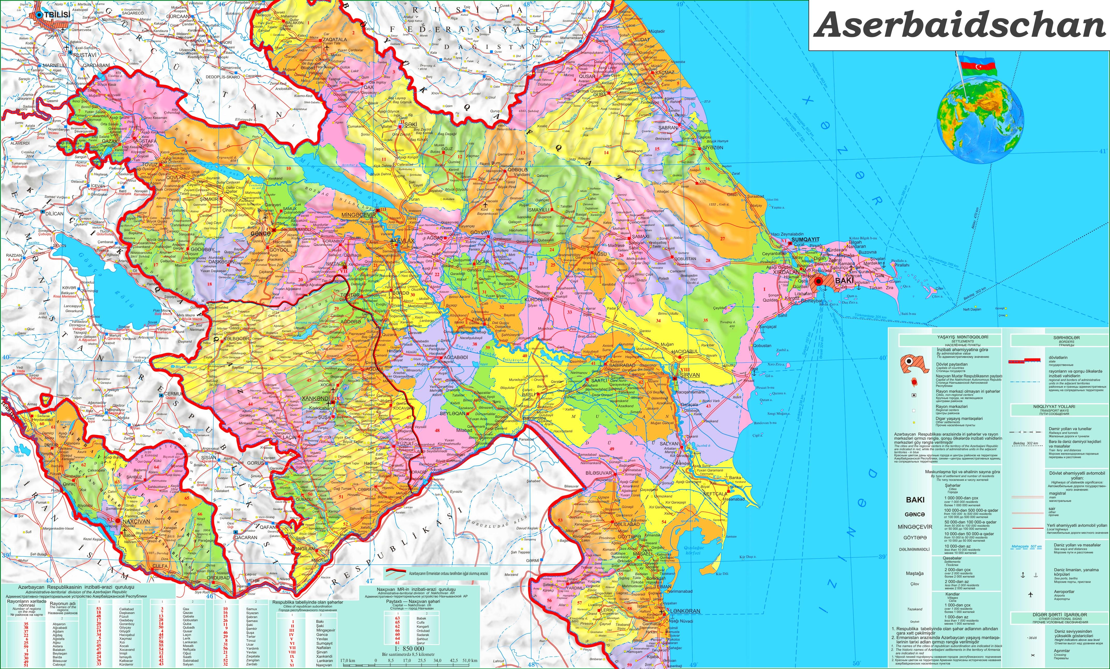 Grosse Detaillierte Karte Von Aserbaidschan