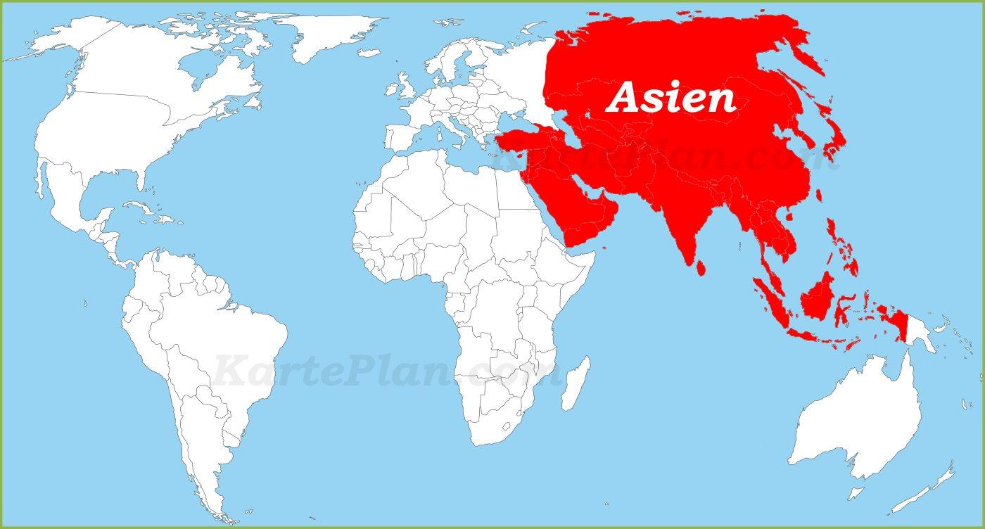 Asien auf der Weltkarte