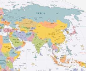 Asien karte mit städten