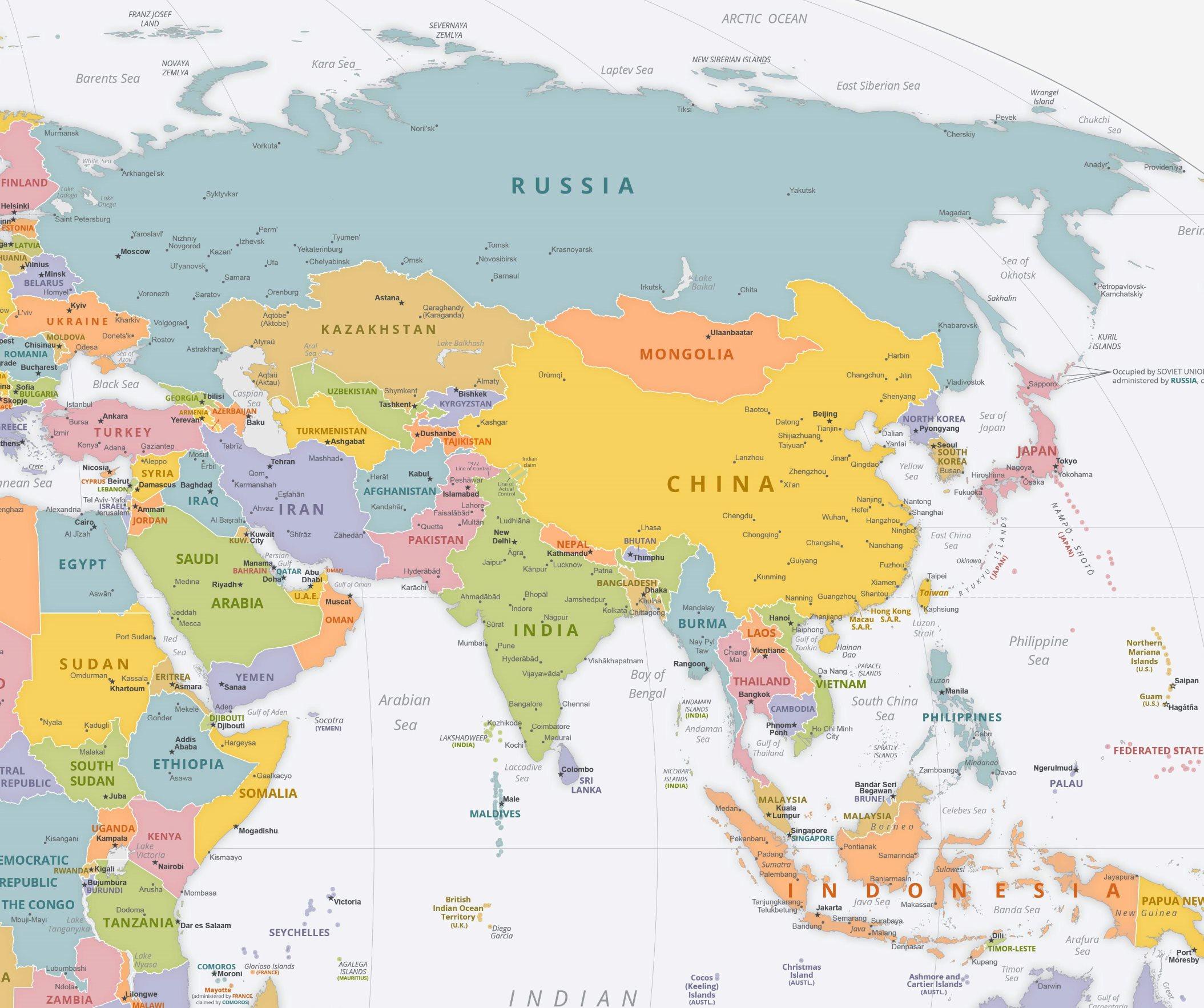 Karte Asien.Asien Karte Mit Städten