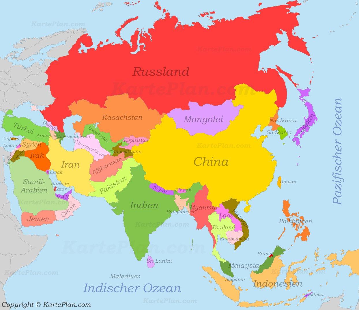 Politische Karte Asien.Asien Politische Karte