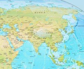 Physische landkarte von Asien