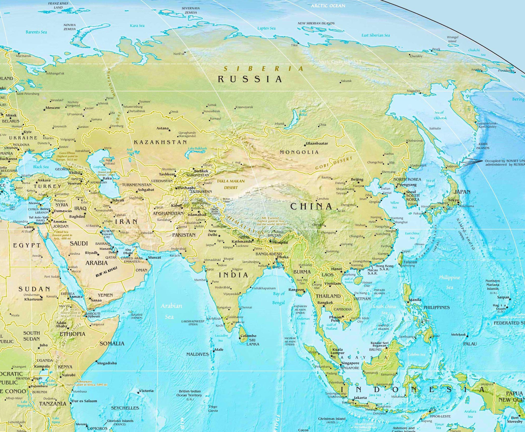 Landkarte Asien.Physische Landkarte Von Asien