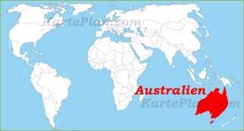Australien auf der Weltkarte
